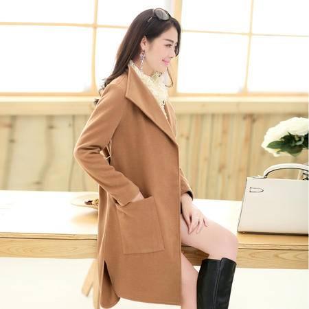 Mssefn 2014秋冬新款 女装韩版时尚修身系带中长款毛呢外套YASG1968