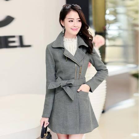 Mssefn 2014秋冬新款 韩版女装修身系带长袖毛呢外套中长款YASG1969
