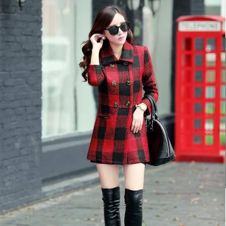 Mssefn 2014秋冬新款 女装韩版双排扣修身大衣格子毛呢外套 配围脖YLMY03
