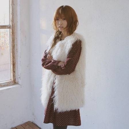 Mssefn 2014秋冬新款 纯色仿皮草羊毛背心 MJ02