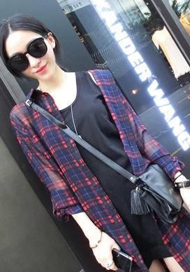 Mssefn 2014秋冬新款 薄款格子雪纺衬衫 中长款长袖衬衫 防晒衫8303-B141