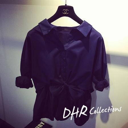 Mssefn 2014秋冬新款 韩版宽松蝴蝶结系带长袖衬衫两件套上衣8303-B170