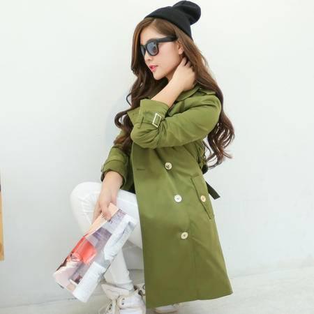 Mssefn 2014秋冬新款 韩版女装修身系带中长款修身风衣外套1011