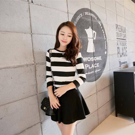 Mssefn2015春季新款韩版气质间隔条纹T恤 百褶裙 两件套88605