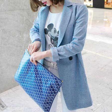 mssefn2015春装新款高档韩国棉麻料小西装外套女X02
