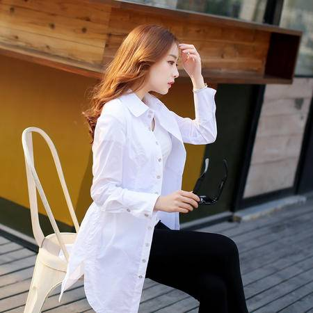 mssefn2015韩版时尚中长款长袖衬衣修身打底衬衫 潮 衬衫女装ARLBPY807