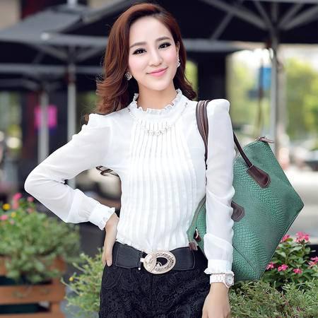 mssefn2015春装新款甜美雪纺长袖衬衫爆款女装2808