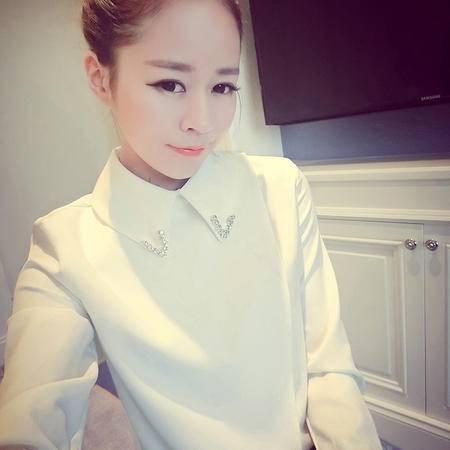 mssefn2015春装新款时尚套头衬衫韩版修身百搭打底上衣女/E12224