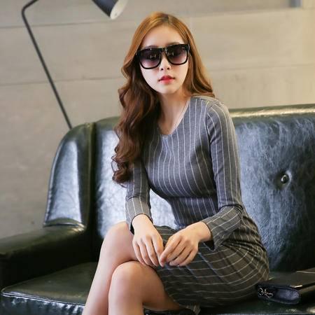 mssefn2015长袖连衣裙女韩版中长款小香风名媛包臀裙修身收腰裙TYLBPY808