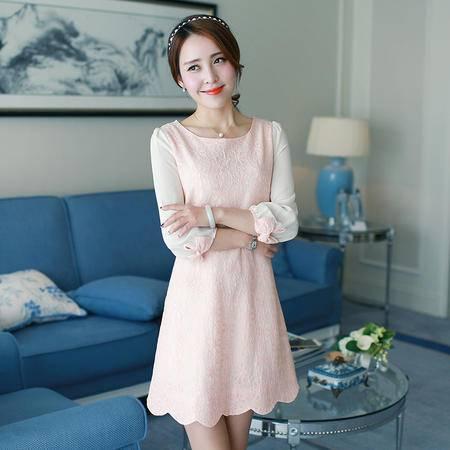 mssefn2015春装新款时尚蕾丝气质连衣裙百搭韩版时尚g130