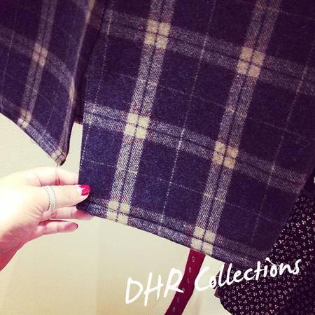 mssefn2015韩版假口袋毛呢格子高腰开叉包臀短裙半身裙812