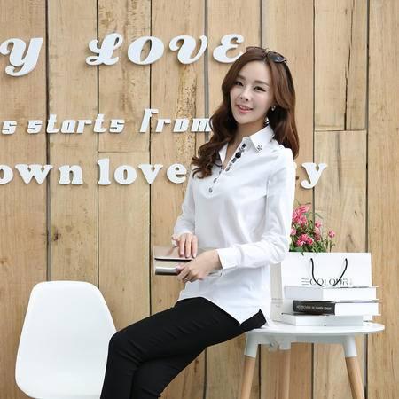 Mssefn2015春季韩版女装新款女式衬衫长袖衬衣订钻职业装YXF1422