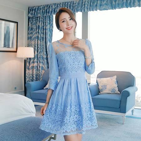 mssefn2015春装新款韩版 清新拼接蕾丝修身连衣裙g05