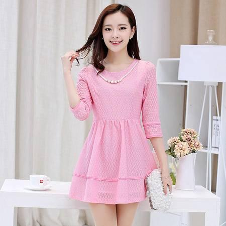 mssefn2015春季新品韩版时尚女装简约气质甜美蕾丝七分袖连衣裙1220