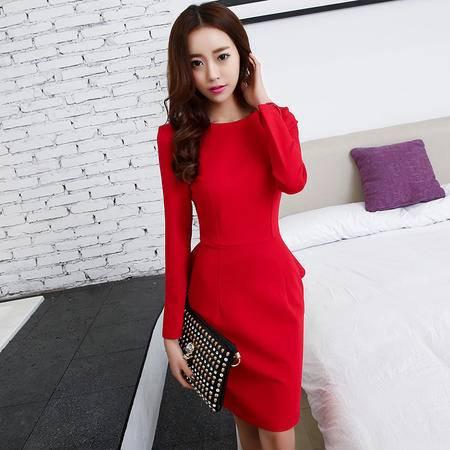 mssefn2015韩版名媛赫本风假两件中长款燕尾下摆显瘦连衣裙FRAMS8118