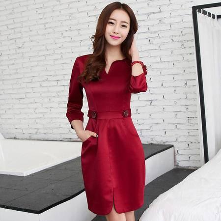 mssefn2015七分袖连衣裙 OL气质修身显瘦包臀一步裙FRAMS8125