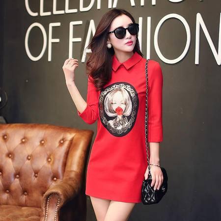 mssefn2015韩版女士名媛打底裙女装时尚印花直筒连衣裙女中长款RYDHY8892