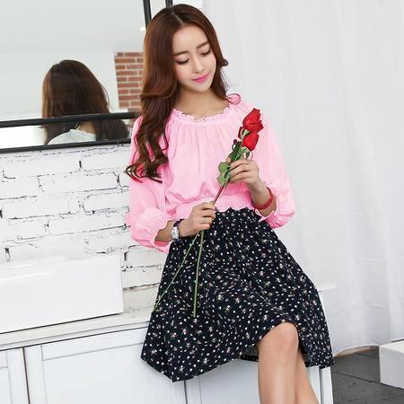 mssefn2015春装假两件长袖连衣裙韩版气质a字收腰小香风HNAMS8111