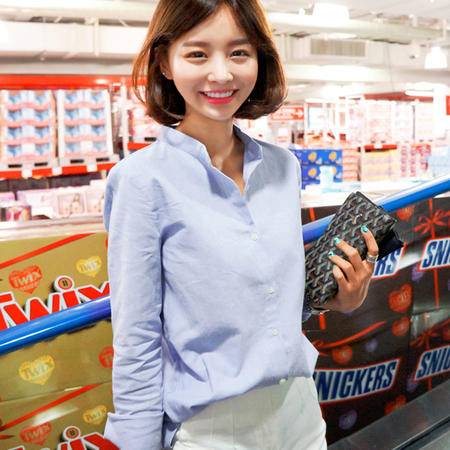 mssefn2015春季新款韩版纯色立领气质女衬衫8309-C010