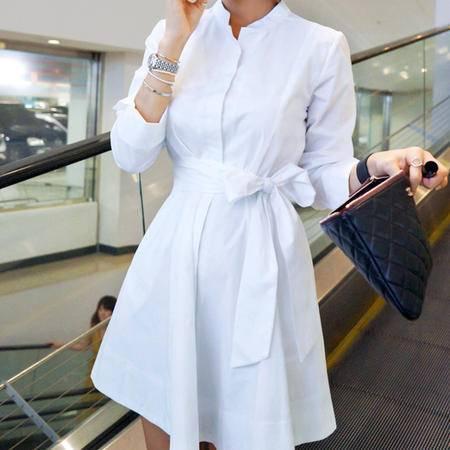 Mssefn2015新款立领素色系带连衣裙 大裙摆连衣裙221