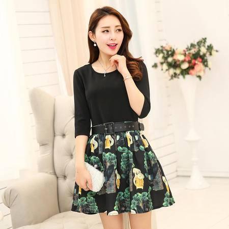 mssefn2015新款品牌优雅针织拼接印花连衣裙修身显瘦甜美淑女裙AYJRM328