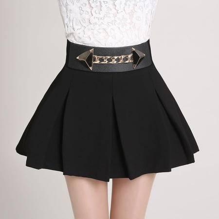 mssefn2015韩版女装 2015春装修身系金属扣短裙149
