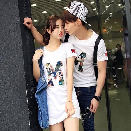 mssefn2015韩版修身情侣夏装男式碎花字母绣标T恤 女式长款碎花字母绣标T恤T85