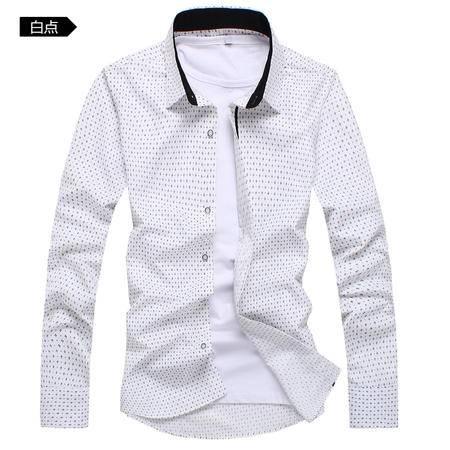 mssefn2015韩版修身春季新款男士方领长袖圆点免烫衬衫-C202
