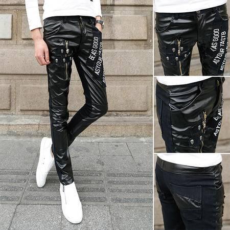 mssefn2015春夏个性男士皮裤 骷髅头另类潮男长裤K53