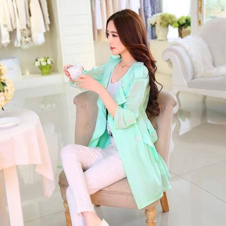 Mssefn2015新款时尚春季风衣 糖果色个性风衣B8385