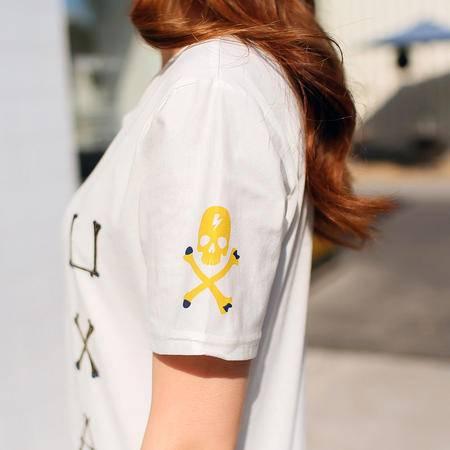 mssefn2015爆款烫金字母骷髅头印花短袖情侣T恤班服A40
