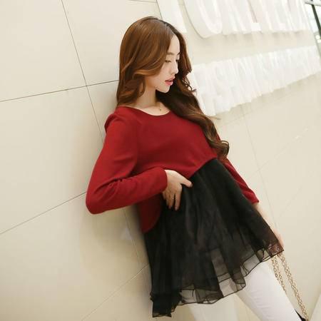 Mssefn2015春装新款韩版雪纺蕾丝衫B9015
