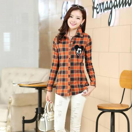 mssefn韩版女装衬衣2015春装新款格子百搭修身显瘦长袖纯棉女衬衫199