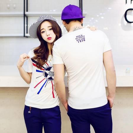 mssefn2015爆款韩版修身多彩抽象印花短袖情侣T恤班服A43