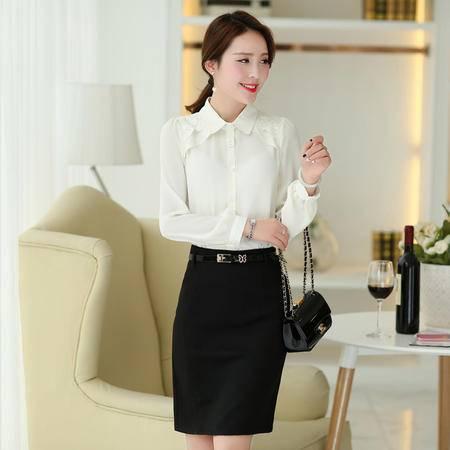 Mssefn2015春装新款韩版女职业装大码显瘦雪纺衫长袖衬衫打底衫1313
