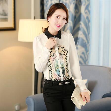 Mssefn2015春装新款女韩版修身印花衬衫雪纺衫娃娃领长袖打底衫0711