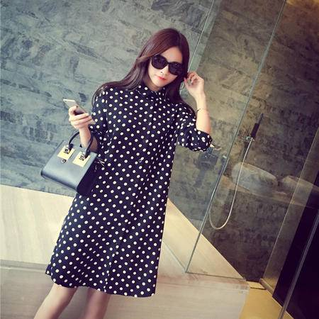 Mssefn2015春装韩国黑白波点中长款雪纺衫七分袖衬衣女 AC06