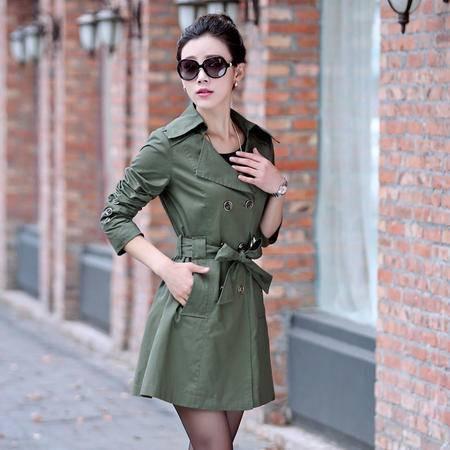 Mssefn2015春季女装新款时尚翻领双排扣系带收腰中长款风衣31604