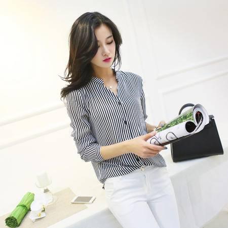 Mssefn2015春装新款韩版长袖条纹衬衫4871