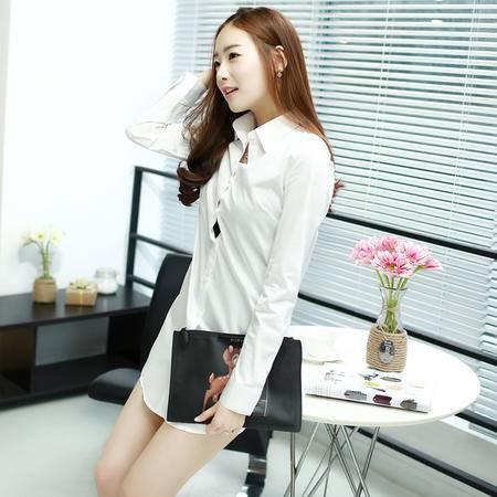 Mssefn2015春装新款韩版修身长款白色衬衫 长袖衬衫女4802