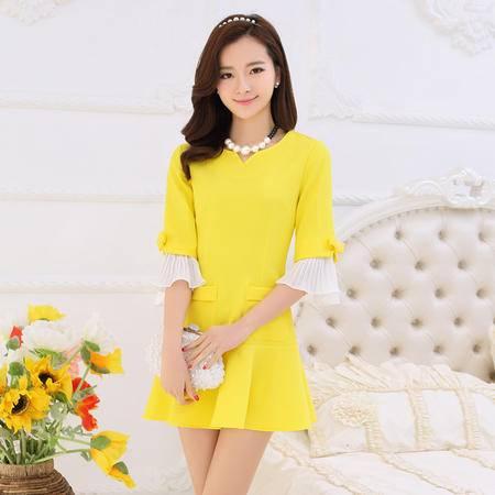 Mssefn2015春装新款韩版清新拼接中袖修身连衣裙187