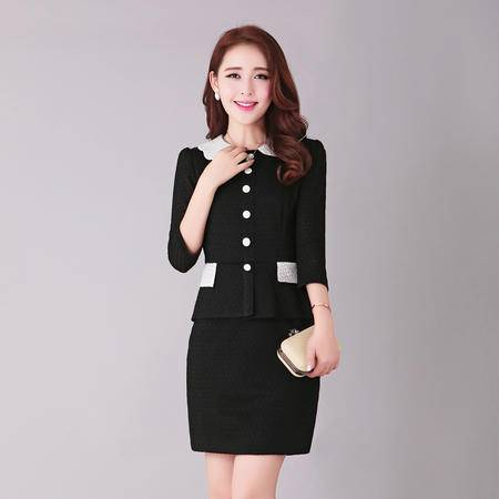 mssefn2015春夏新款 韩版修身黑白经典连衣裙B7886