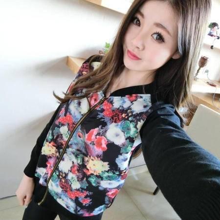mssefn2015春装新款女装韩版修身彩色碎花针织开衫拉链小外套潮150
