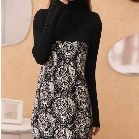 mssefn2015春季女装新款半高领修身连衣裙 百搭中长款针织衫31716