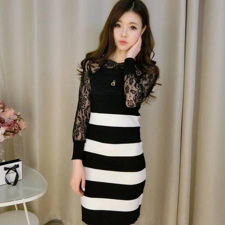 Mssefn2015新款女装韩版蕾丝圆领修身弹力套头针织衫打底连衣裙158