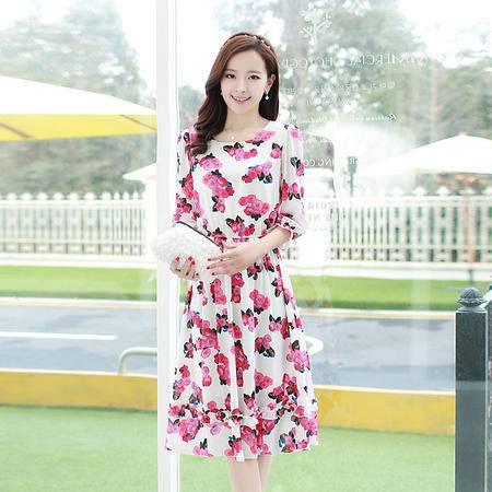 Mssefn2015韩版女装春秋装甜美印花泡泡袖木耳边雪纺连衣裙长裙8108
