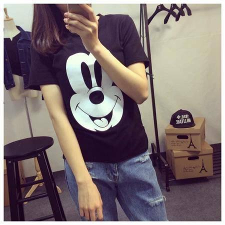 Mssefn2015夏装新款短袖圆领常规米奇图案上衣T恤女3278