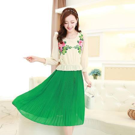 mssefn2015韩版女装春秋装泡泡袖荷叶边修身气质雪纺连衣裙长裙8103