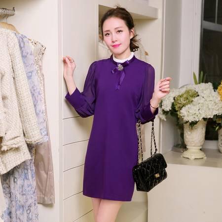 Mssefn2015春装新款女装 OL时尚简约雪纺中长款修身连衣裙500