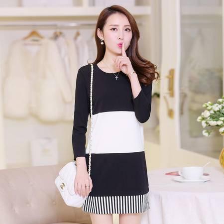 Mssefn2015春装新款韩版时尚黑白拼接中长款修身连衣裙女508